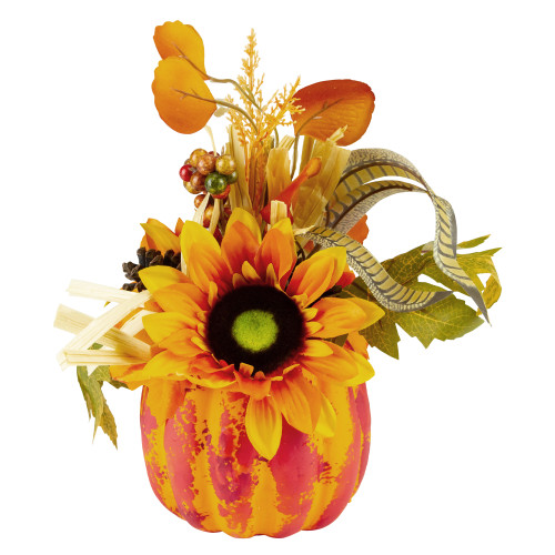 """12"""" Orange and Yellow Autumn Harvest Floral Filled Pumpkin Tabletop Decor - IMAGE 1"""