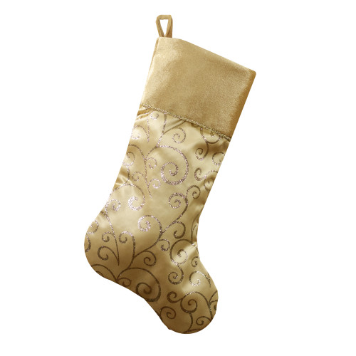 "20.5"" Gold Glittered Swirl Christmas Stocking with Velveteen Cuff - IMAGE 1"