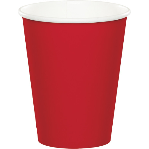 Club Pack of 240 Classic Red Disposable Paper Hot and Cold Drinking Party Tumbler Cups 9 oz. - IMAGE 1