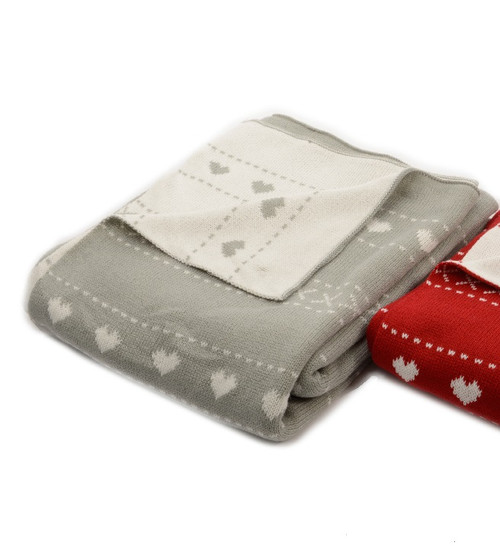 """Alpine Chic Light Gray with White Heart Pattern Knitted Christmas Throw Blanket 50"""" x 60"""" - IMAGE 1"""