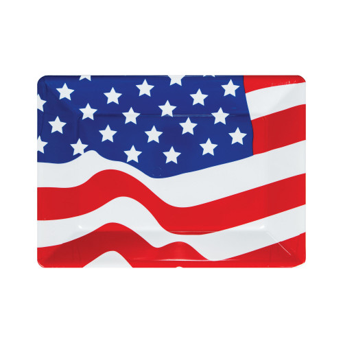 """Club Pack of 12 Red and Blue Patriotic Stars Rectangular Party Serving Trays 14"""" - IMAGE 1"""