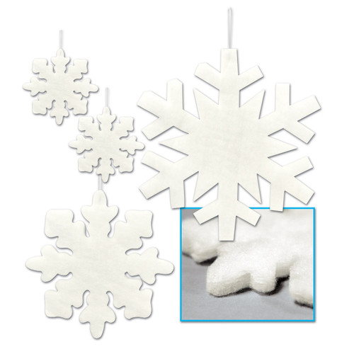 """Club Pack of 48 Assorted Christmas Fluffy Snowflakes 6"""" - 16"""" - IMAGE 1"""