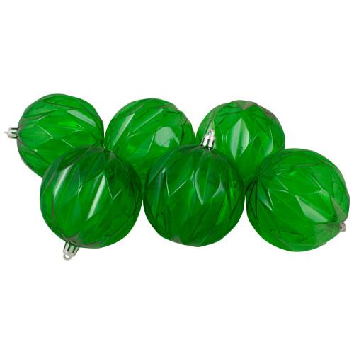 "Set of 6 Green Rhombus Cut Shatterproof Transparent Christmas Ball Ornaments 3"" (70mm) - IMAGE 1"