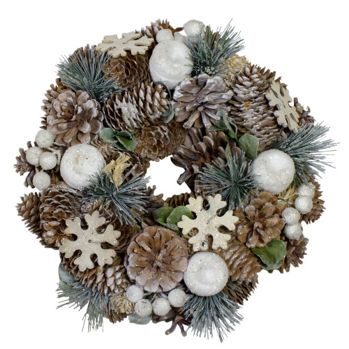 Frosted Glitter Pine Cone and Fruit Artificial Christmas Wreath - 10.5-Inch, Unlit - IMAGE 1