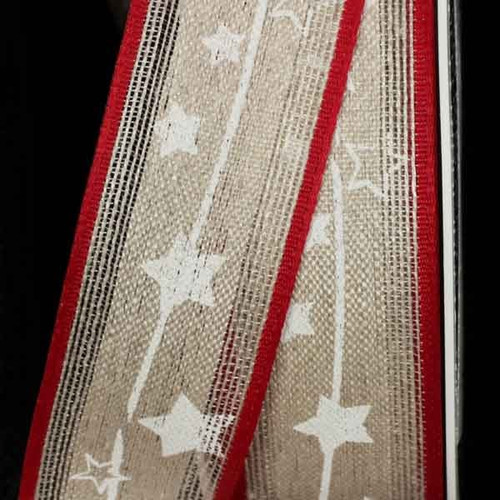 """Cream White and Red Christmas Star Print Linen Wired Craft Ribbon 1.25"""" x 16 Yards - IMAGE 1"""