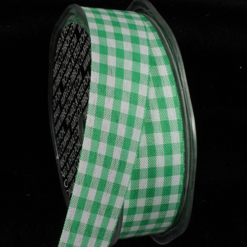 "Green and White Gingham Cut Edge Ribbon 1"" x 132 Yards - IMAGE 1"