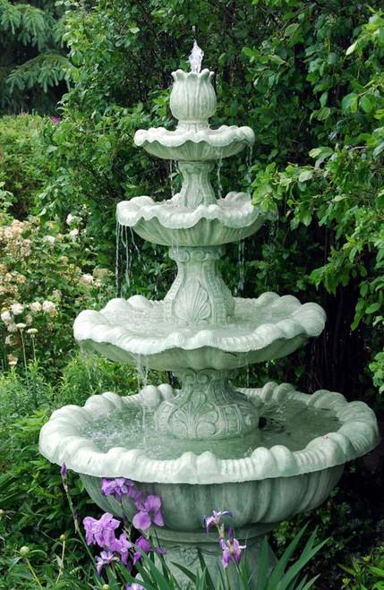 8' Calypso Cast Stone Concrete 4-Tier Outdoor Garden Water Fountain - IMAGE 1