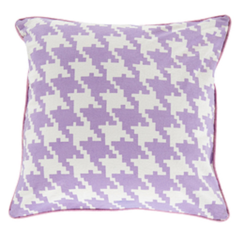 "20"" Purple and White Houndstooth Pattern Throw Pillow - IMAGE 1"