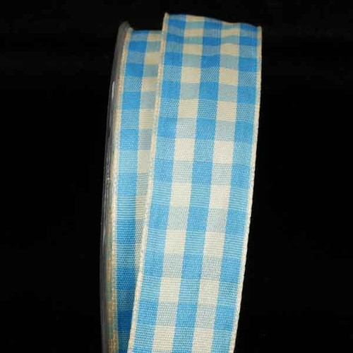 """Blue and Ivory Gingham Wired Woven Edge Craft Ribbon 1"""" x 54 Yards - IMAGE 1"""
