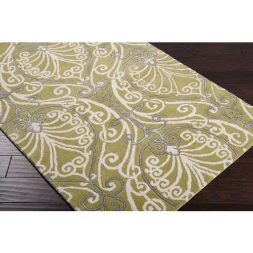 3.25' x 5.25' White and Green Arabesque Pattern Wool Area Throw Rug - IMAGE 1