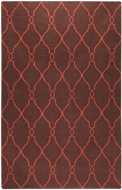 8' Camel Brown and Red Damask Hand Tufted Wool Area Throw Rug - IMAGE 1