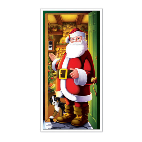 Club Pack of 12 Red and White Winter Wonderland Santa Claus Christmas Door Covers 5' - IMAGE 1