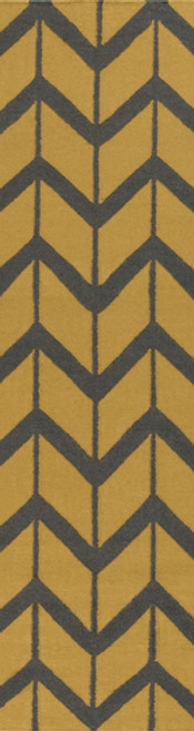 2.5' x 8' Chevron Pathway Olive Green and Gray Hand Woven Wool Area Throw Rug Runner - IMAGE 1