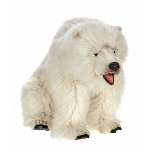 "34.5"" White Handcrafted Plush Seated Polar Bear Stuffed Animal - IMAGE 1"