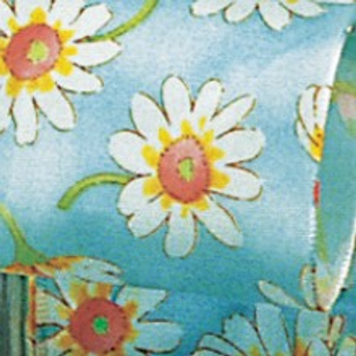 "Blue and White Daisy Printed Wired Craft Ribbon 1.5"" x 27 Yards - IMAGE 1"