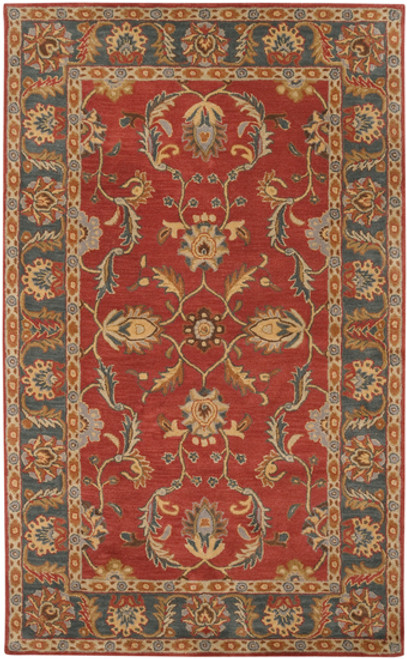 6' x 9' Floral Red and Gray Hand Tufted Rectangular Wool Area Throw Rug - IMAGE 1