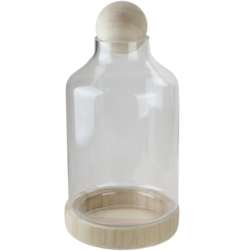 """14"""" Transparent Glass Hurricane with Decorative Wooden Lid and Base - IMAGE 1"""