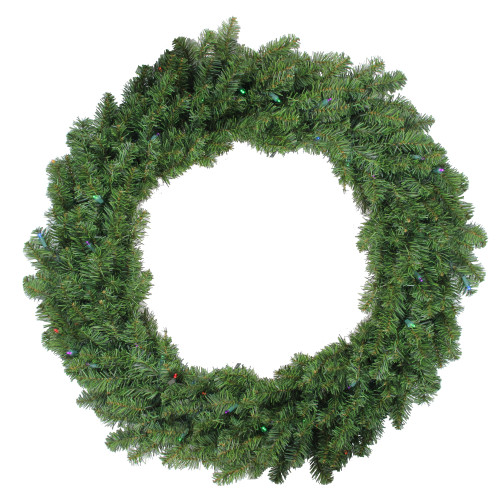 Pre-Lit Canadian Pine Artificial Christmas Wreath - 36-Inch, Multi Lights - IMAGE 1