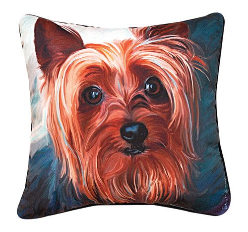 """18"""" Brown and Blue Yorkie Outdoor Patio Square Throw Pillow - IMAGE 1"""