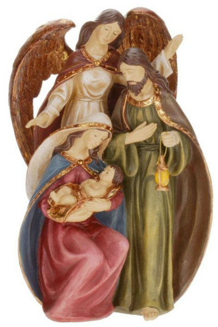 """13"""" Nativity Scene with Holy Family and Angel Religious Christmas Table Top Decoration - IMAGE 1"""