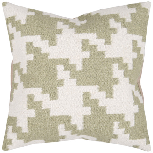 """20"""" Green and White Square Contemporary Throw Pillow - Down Filler - IMAGE 1"""