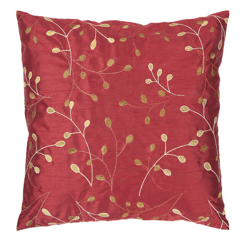 "18"" Red and Gold Contemporary Leaf Square Throw Pillow - Down Filler - IMAGE 1"