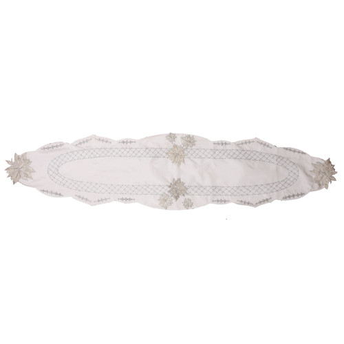 """16"""" x 68"""" White Floral Hand Beaded Table Runner with Scallop Edge - IMAGE 1"""