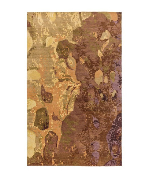 4' x 6' Abstract Yellow and Brown Hand Knotted Rectangular Wool Area Throw Rug - IMAGE 1