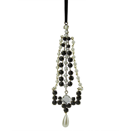 """7"""" Black and White Artificial Pearl Dangle Christmas Ornament - IMAGE 1"""