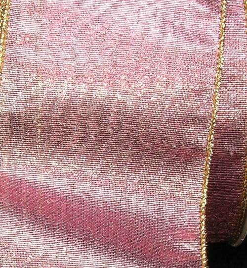 """Pink and Gold Solid Wired Craft Ribbon 2"""" x 40 Yards - IMAGE 1"""