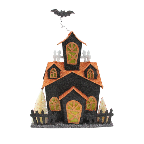 """11.25"""" Black and Orange LED Lighted Glitter Drenched Halloween Haunted House Tabletop Decor - IMAGE 1"""