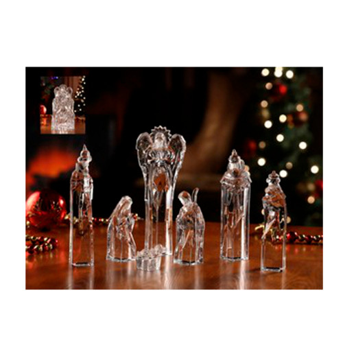 """Set of 7 Icy Clear Religious Christmas Nativity Block Figurines 8.75"""" - IMAGE 1"""