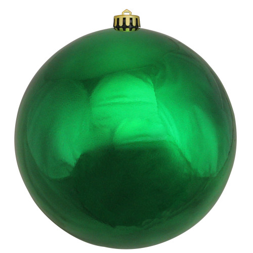 "Green Shatterproof Shiny Christmas Ball Ornament 10"" (250mm) - IMAGE 1"