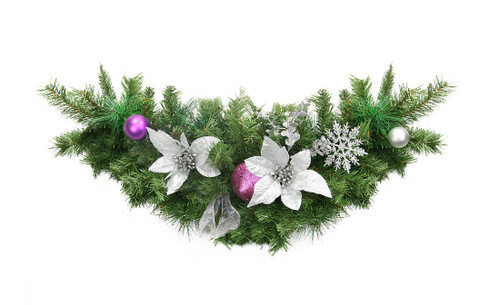 """30"""" Silver and Purple Pre-Decorated Ball Ornaments and Ribbon Artificial Christmas Swag - Unlit - IMAGE 1"""