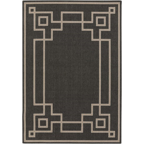 3.5' x 5.5' Charcoal Black and Cream White Shed Free Outdoor Area Throw Rug - IMAGE 1