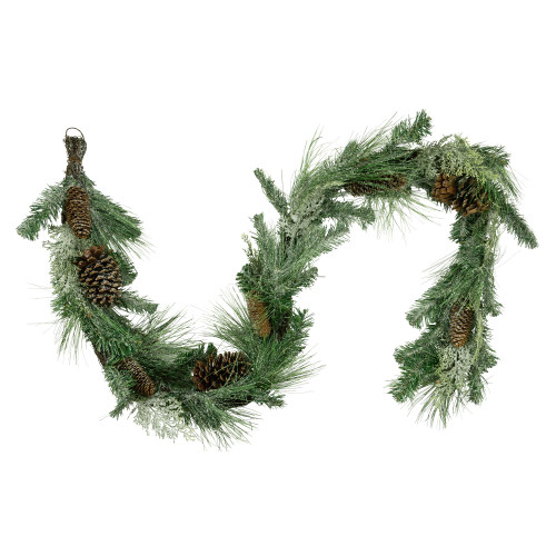 """6' x 14"""" Mixed Pine and Glitter Pine Cones Christmas Garland - Unlit - IMAGE 1"""