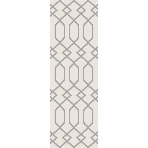 2.6' x 7.25' Entwine Passions Ivory White and Gray Rectangular Area Throw Rug Runner - IMAGE 1