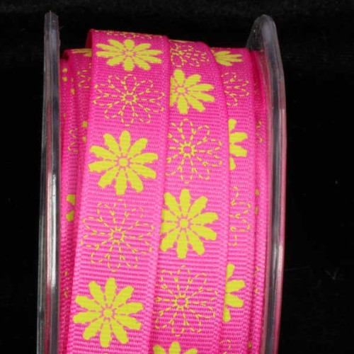 """Pink and Yellow Floral Craft Ribbon 0.5"""" x 108 Yards - IMAGE 1"""