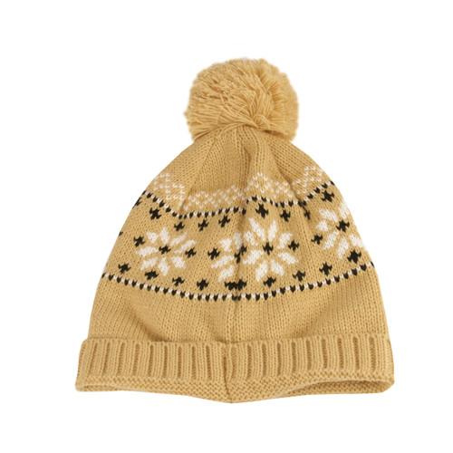 Unisex Light Khaki Jacquard Knit Winter Beanie Hat - One Size - IMAGE 1