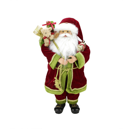 "24"" Red and Green Santa Claus with Gift Bag Christmas Figurine - IMAGE 1"