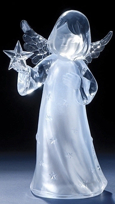 "11"" Clear LED Lighted Angel Holding Star Christmas Figurine - IMAGE 1"