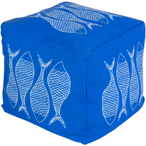 "18"" Sapphire Blue and Light Gray Mackerel Square Outdoor Patio Pouf Ottoman - IMAGE 1"