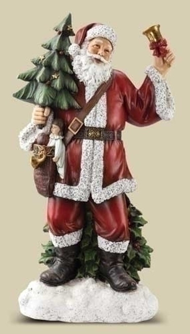 "30"" White and Red Bell Ringing Santa Claus Christmas Figure - IMAGE 1"