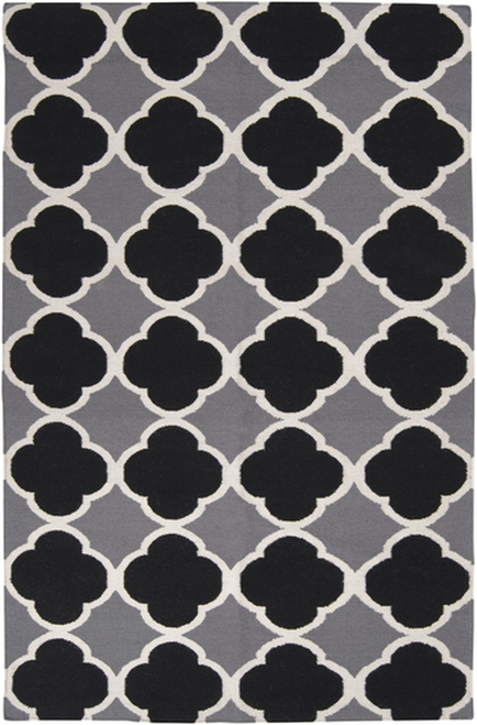 8' x 11' Captivating Clovers Black and Gray Hand Woven Wool Area Throw Rug - IMAGE 1