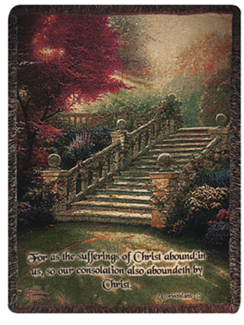 """Burgundy Red and Green Uplifting Stairway to Paradise Bible Verse Tapestry Throw Blanket 50"""" x 60"""" - IMAGE 1"""