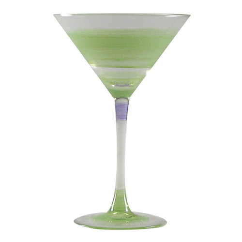 Set of 2 Green and Clear Retro Striped Wine Glasses 7.5 oz. - IMAGE 1