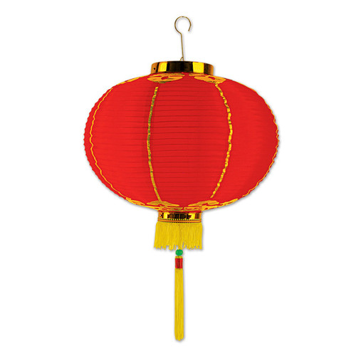 "Pack of 6 Red and Gold Lantern Hanging Decor with Tassels 16"" - IMAGE 1"