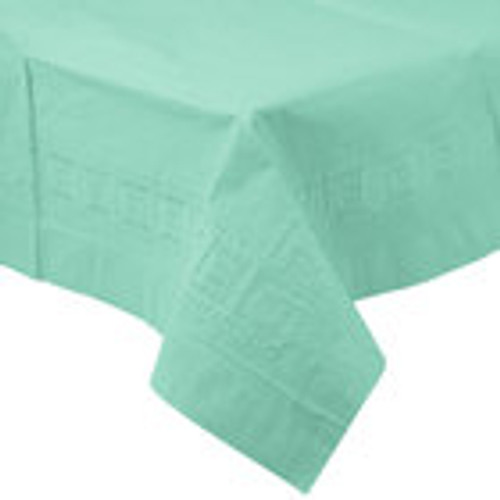 """Pack of 6 Mint Green Durable Heavy-Duty Lined Tablecloths 108"""" - IMAGE 1"""