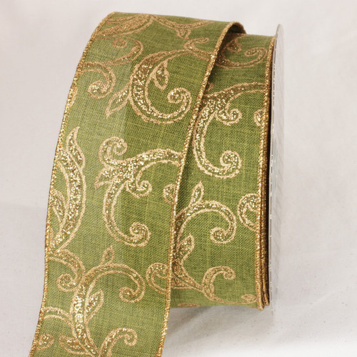 """Gold and Green Wired Craft Ribbon 2.5"""" x 20 yards - IMAGE 1"""