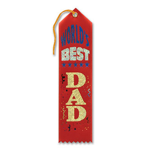 """Pack of 6 Red """"World's Best Dad Award"""" School Award Ribbon Bookmarks 8"""" - IMAGE 1"""